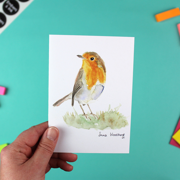 Robin On The Grass Greetings Card