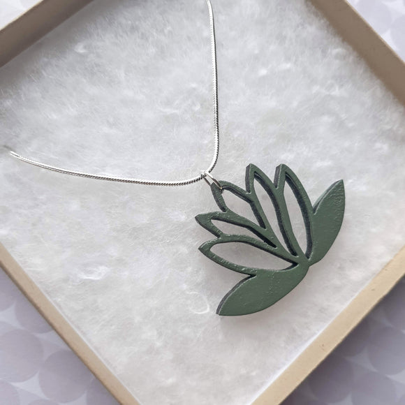 Lasercut Lotus Pendant Necklace - Khaki / Sage Green