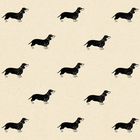 Sausage Dog Wrapping Paper Sheet // Cream // 70 cm x 50 cm / 27.5