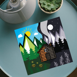 Night and Day Chalet square print