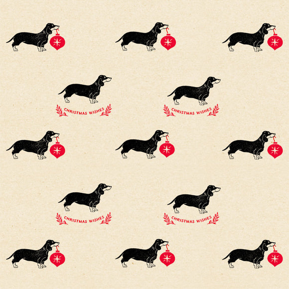Christmas Dachshunds Wrapping Paper Sheet // 70 cm x 50 cm / 27.5