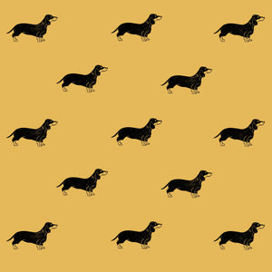 "Sausage Dog Wrapping Paper Sheet // Yellow // 70 cm x 50 cm / 27.5"" x 19.5"""