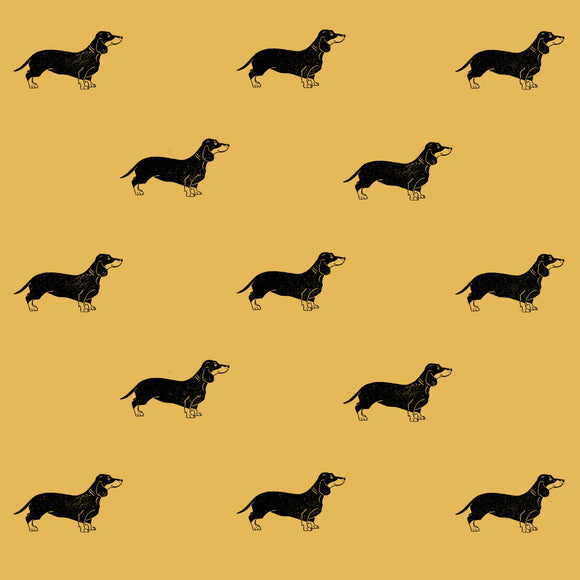 Sausage Dog Wrapping Paper Sheet // Yellow // 70 cm x 50 cm / 27.5