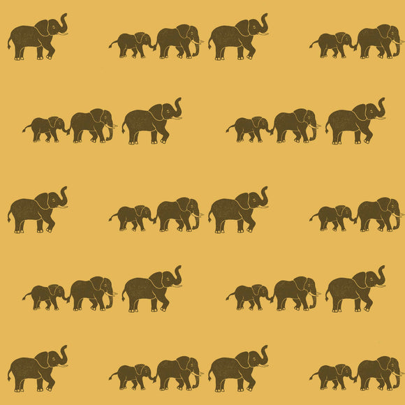 Elephant Wrapping Paper Sheet // Yellow // 70 cm x 50 cm / 27.5