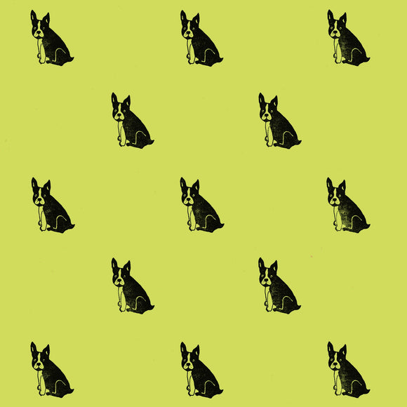 French Bulldog Wrapping Paper Sheet // Pistachio Green // 70 cm x 50 cm / 27.5