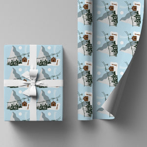 Christmas Ski Chalet Wrapping Paper Sheet