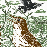 Blackbirds and Thrushes linocut poster-print