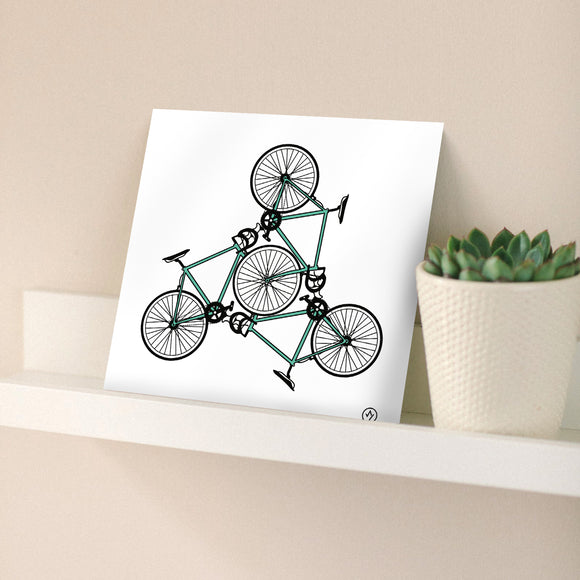 Road Bike Trio Square Print