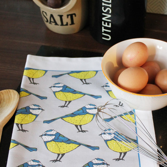 Blue Tit Bird Tea Towel