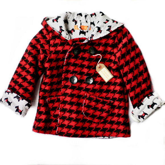 Age 4 Kids Red and Black Houndstooth Duffle Coat