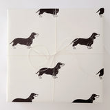 "Sausage Dog Wrapping Paper Sheet // Cream // 70 cm x 50 cm / 27.5"" x 19.5"""