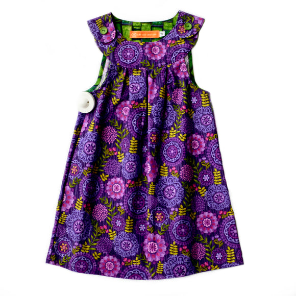 Age 1 Girls Handmade Dress - Purple Flowers