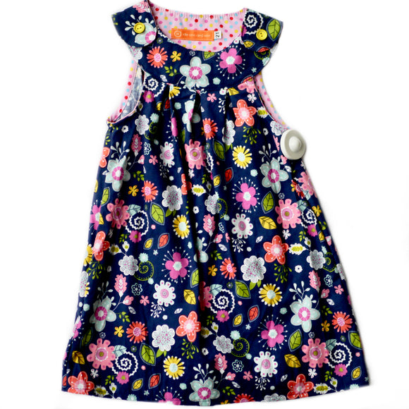 Age 2 Girls Handmade Dress - Multicoloured Flowers on Blue
