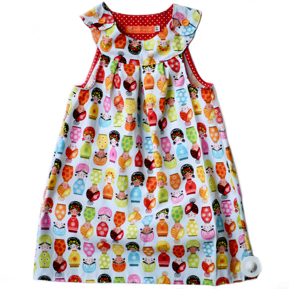 Age 3 Girls Handmade Dress - Matroshkas