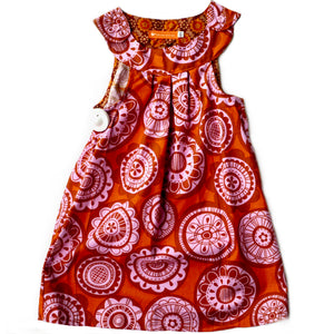 Age 4 Girls Handmade Dress - Orange and Pink Retro Flowers