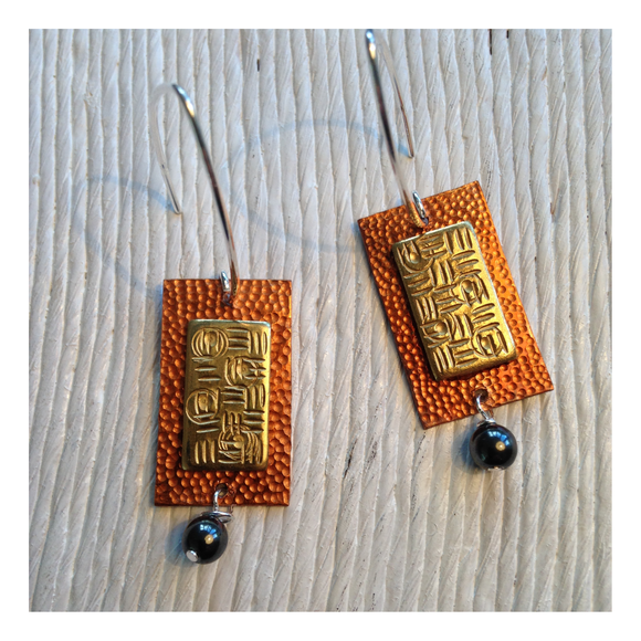 brass and copper earrings