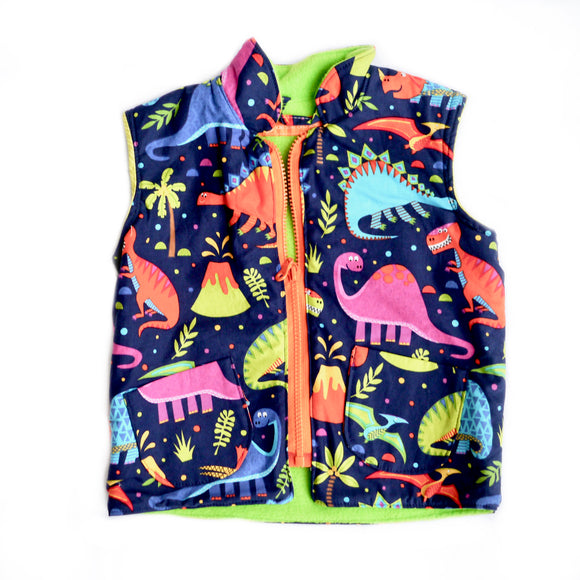 Age 2 Kids Fleece-lined Gilet - Dinosaurs