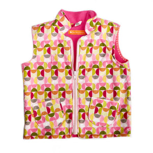 Age 3 Kids Fleece-lined Gilet - Pink Geometric