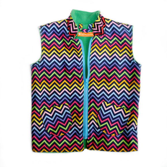 Age 4 Kids Fleece-lined Gilet - Rainbow Chevrons