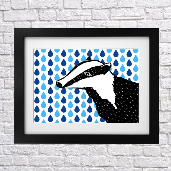 Rainy Days Badger Print