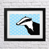 Snowy Days Badger Print