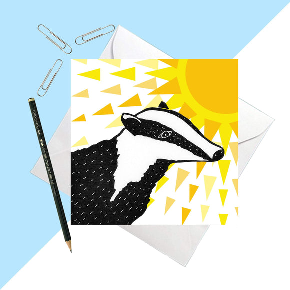 Sunny Days Badger Greetings Card