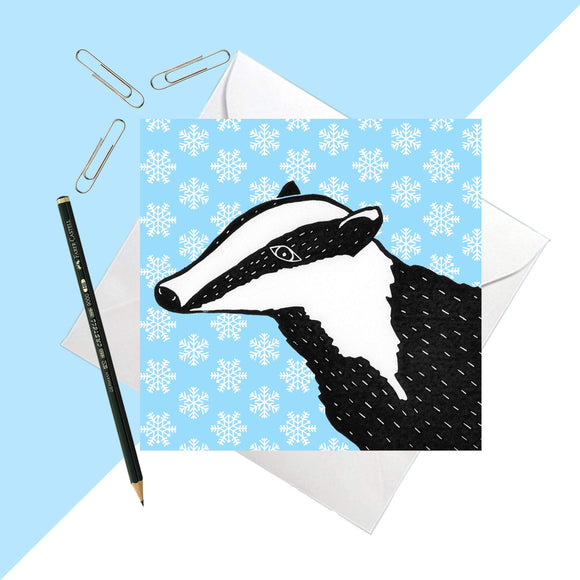Snowy Days Badger Greetings Card
