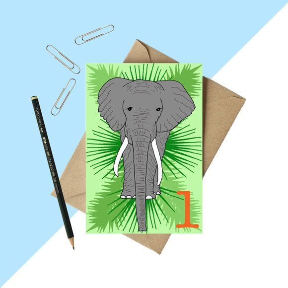 Age 1 Elephant Birthday card