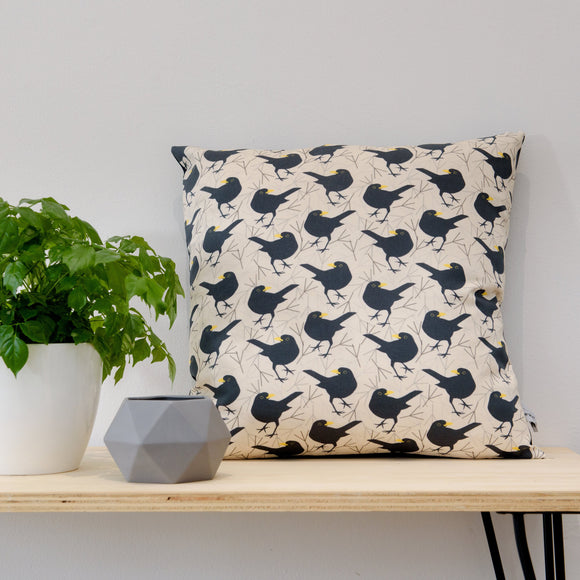 Blackbird Print Cushion