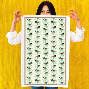 Coal Tit Print Tea Towel