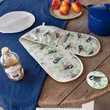 Coal Tit Print Double Oven Gloves