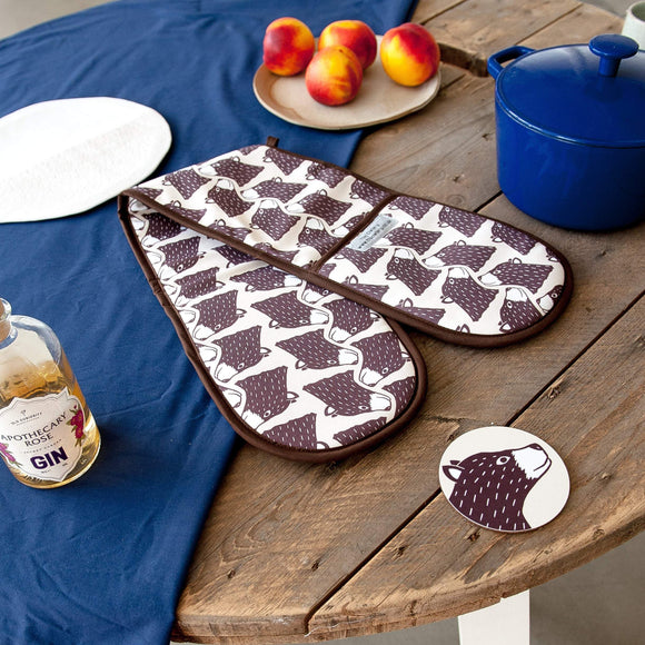 Bear Print Double Oven Gloves
