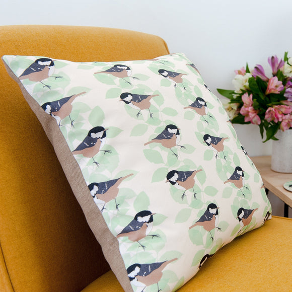 Coal Tit Print Cushion