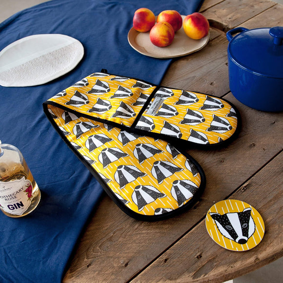 Badger Print Double Oven Gloves