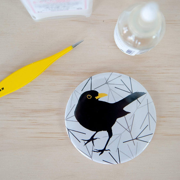 Blackbird print Pocket Mirror