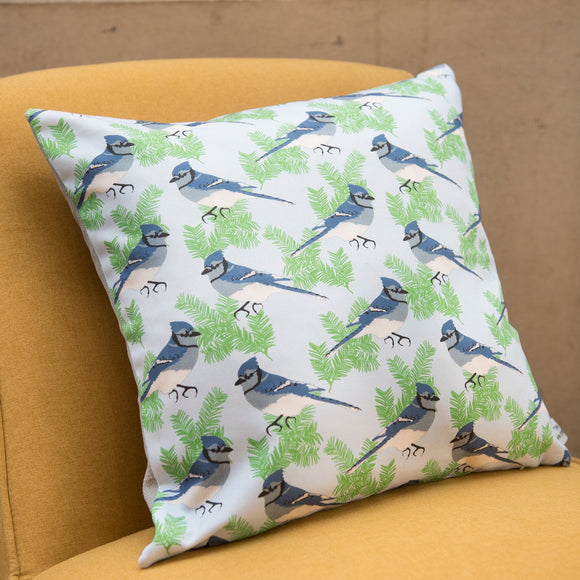 Blue Jay Print Cushion
