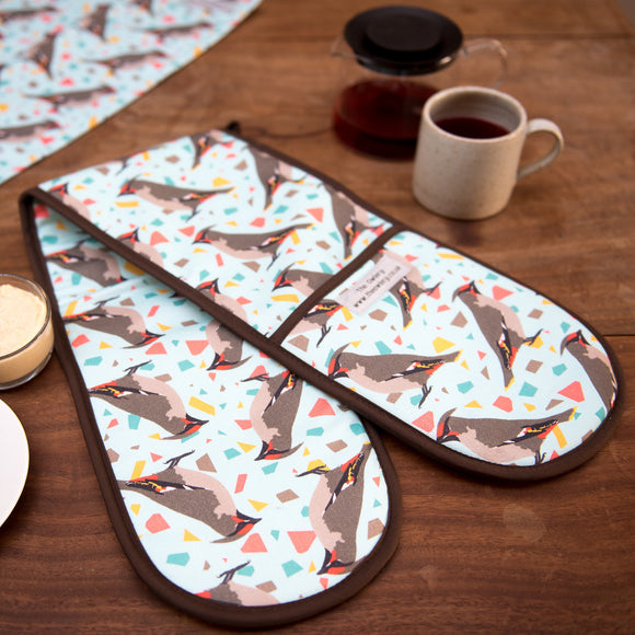 Waxwing Print Double Oven Gloves