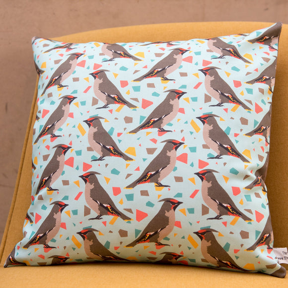 Waxwing Print Cushion