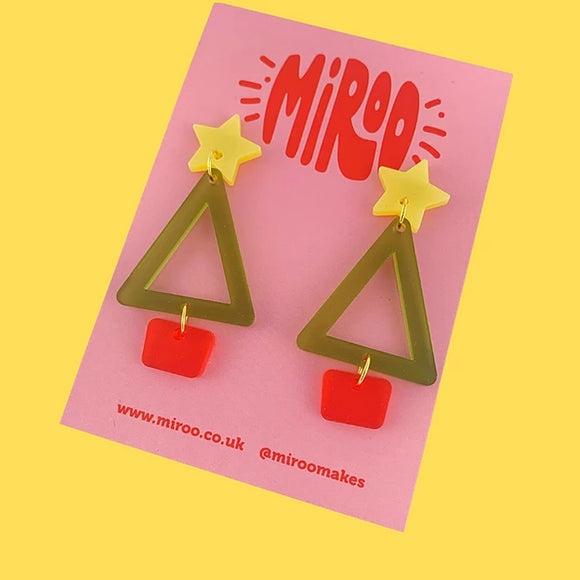 Christmas Tree Acrylic Earrings