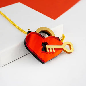 Key To My Heart Necklace- Mirrored Red