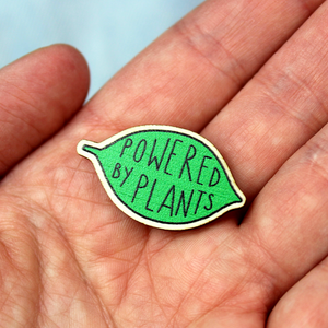 Powered by Plants Leaf Shaped Wooden Pin Badge by Embers and Ink
