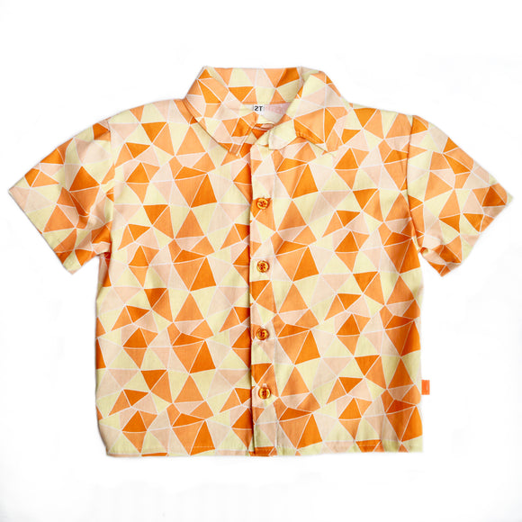 Age 2 Kids Handmade Shirt - Orange Geometric