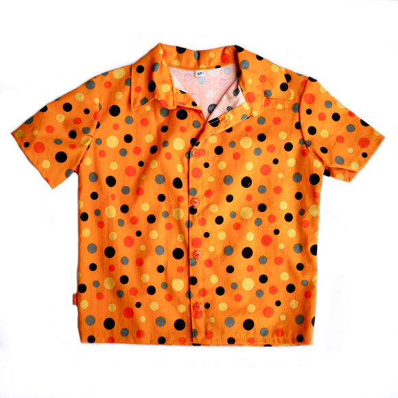 Age 5 Kids Handmade Shirt - Orange Dots