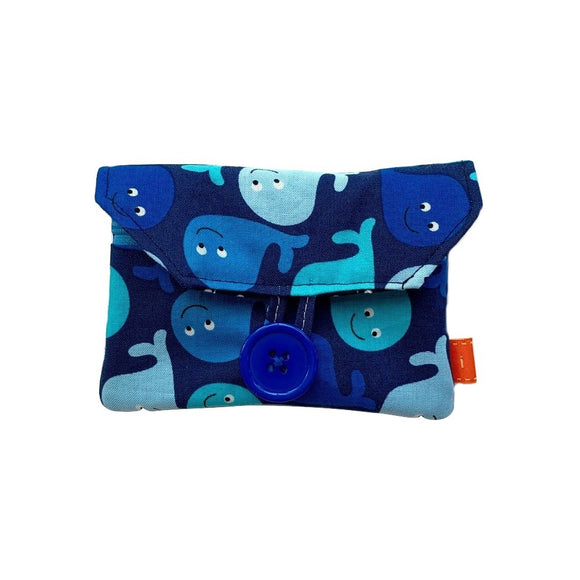 Blue Whales Zip Pocket Button Purse