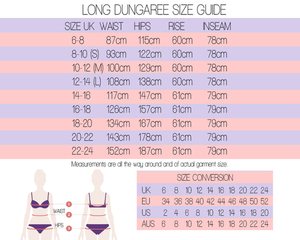 long dungaree size guide