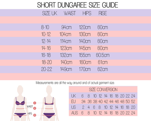 short dungaree size guide