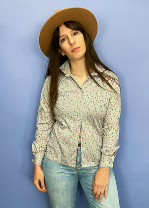 VINTAGE 70's Ditzy Floral Grey Shirt - S