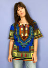 Vintage African Dashiki Front Split Maxi Dress