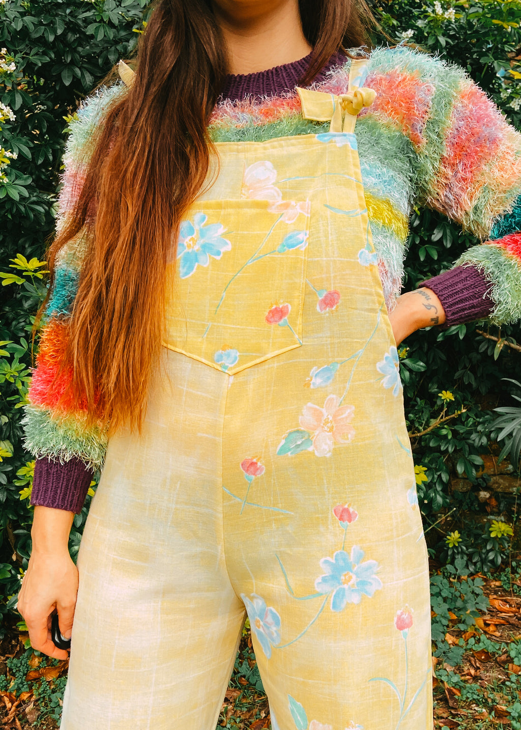 DESERT FOX Yellow Floral Print Long Length Dungarees Jumpsuit
