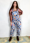 DESERT FOX Blue Floral Print Long Length Dungarees Jumpsuit